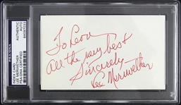 "1950s-2000s Lee Meriwether Barnaby Jones Signed 3""x 5"" Index Card (PSA/DNA Slabbed)"