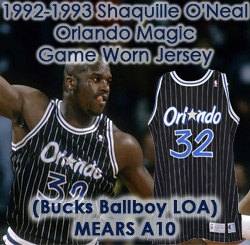 1992-93 Shaquille ONeal Orlando Magic Game Worn Road Jersey (MEARS A10/Bucks Ballboy Letter) Rookie Season