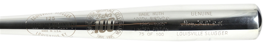 1995 Babe Ruth New York Yankees H&B Louisville Slugger 100th Birtday Commemorative Silver Bat (75/100)