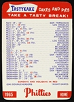 1956 Philadelphia Phillies Tastykake Pocket Schedule