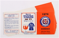 1978 Detroit Tigers Television Dates Schedules (Lot of 25)
