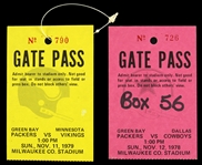 1978-1979 Green Bay Packers Gate Passes