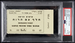 "1940 circa Gone with the Wind Cinema ""Rama"" Tel Aviv Full Ticket (PSA/DNA Slabbed)"