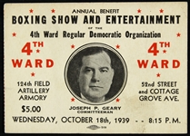 1939 Boxing Show & Entertainment of the 4th Ward Regular Democratic Organization Ticket Stub