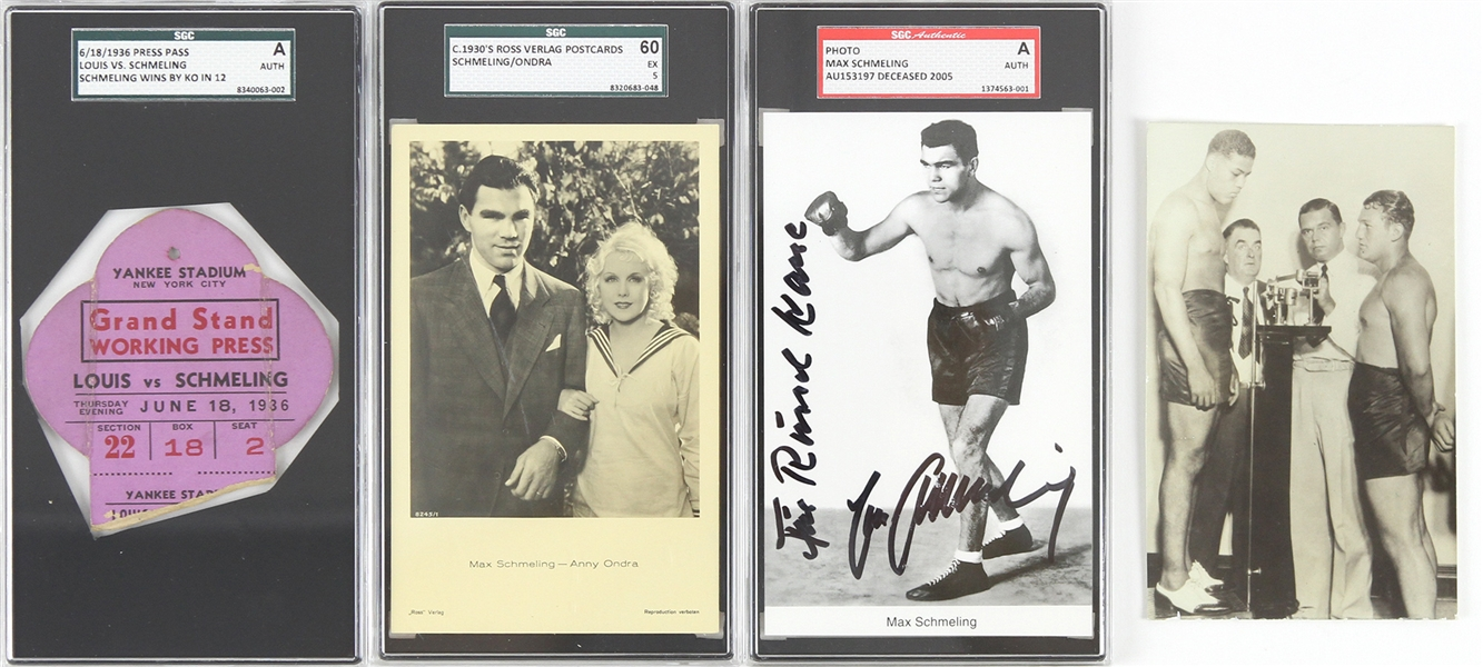 1930s-60s Joe Louis Max Schmeling World Heavyweight Champions Memorabilia Collection - Lot of 4 w/ SGC Slabbed Signed Photo, Press Pass & Postcards