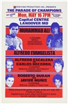 "1977 Muhammad Ali vs Alfredo Evangelista 14.5""x 22.5"" On-Site Boxing Poster"
