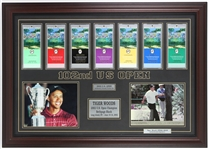 "2002 Tiger Woods 102nd U.S. Open 28""x 39"" Framed Unused Ticket Set and Photo Display"