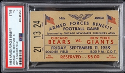 1959 Chicago Bears vs New York Giants Armed Forces Benefit Game at Soldier Field Ticket Stub (PSA/DNA Slabbed)