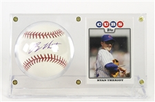 2008 Ryan Theriot Chicago Cubs Signed Baseball Display (JSA/MLB Hologram)