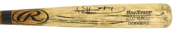 1999 Todd Hundley Los Angeles Dodgers Signed Rawlings Adirondack Professional Model Game Used Bat (MEARS LOA/JSA)