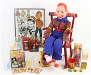 "1950s-90s Howdy Doody Memorabilia Collection - Lot of 25+ w/ 28"" Howdy Doody Doll, Books, Glasses, Ornaments, Pinback Buttons & Moire"