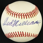 1985-89 Ted Williams Boston Red Sox Signed OAL Brown Baseball (JSA)