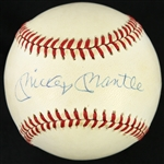 1985-89 Mickey Mantle New York Yankees Signed OAL Brown Baseball (JSA)