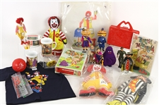 1970s-80s McDonalds Toy Collection - Lot of 34 w/ Plates, Plush Toys, Action Figures, Needlepoint Sets & More
