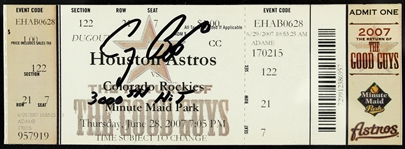 2007 (June 28) Craig Biggio Houston Astros Signed 3,000th Hit Game Full Ticket (JSA)