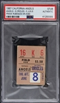 1967 (June 8th) California Angels vs Baltimore Orioles Ticket Stub (PSA Slabbed) Frank Robinson HR #389
