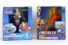 2003-2005 Superman and Flying Human Torch Action Figures (Lot of 2)