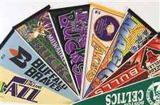 1970s-90s Basketball Full Size Pennant Collection - Lot of 11 w/ Buffalo Braves, New Orleans Jazz, Harlem Globetrotters & More