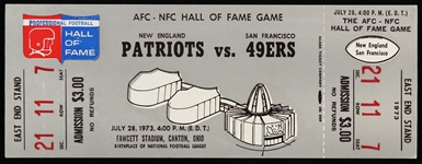 1973 New England Patriots vs San Francisco 49ers AFC-NFC Hall of Fame Game Ticket