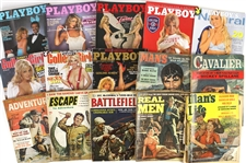 1950s-2010s Mens Magazine Collection - Lot of  28 w/ Playboy, Stag, Escape to Adventure & More