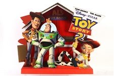 1999 Toy Story 2 Dual Sided Advertsing Display w/ Woody, Buzz Lightyear & Jessie The Yodeling Cowgirl