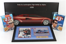 "1980s-90s Richard Petty Winston Cup Champion Collection - Lot of 4 w/ Signed 16"" x 27"" Framed Display, Cereal Boxes & 18"" x 37"" Framed Lamborghini Poster (JSA)"
