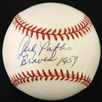 "1995-99 Andy Pafko Milwaukee Braves Signed & Inscribed ""Braves 1957"" ONL Coleman Baseball (*JSA*)"