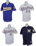 1987-94 Milwaukee Brewers Batting Practice Jerseys - Lot of 4 w/ Teddy Higuera, Darryl Hamilton, Greg Brock & More (MEARS LOA)