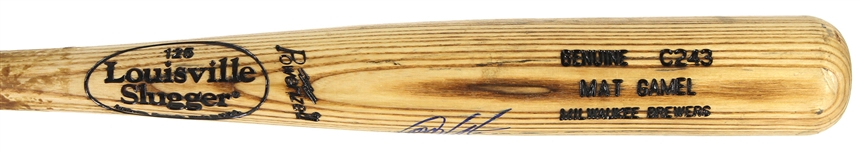 2008 Mat Gamel Milwaukee Brewers Signed Louisville Slugger Professional Model Game Used Bat (MEARS LOA/JSA)