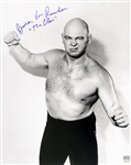 Baron Von Raschke AWA Wrestling Legend (with arms raised) Signed LE 16x20 B&W Photo (JSA)