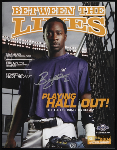 2004 Bill Hall Milwaukee Brewers Signed Between the Lines Magazine (JSA)