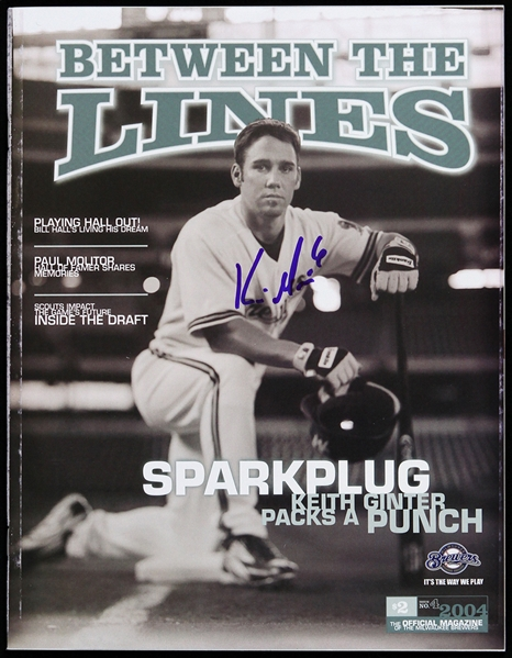 2004 Keith Ginter Milwaukee Brewers Signed Between the Lines Magazine (JSA)