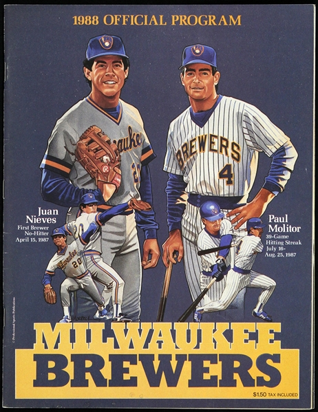 1988 Milwaukee Brewers Official Program