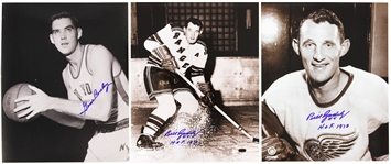 "2000s Bill Gadsby Gene Conley Red Wings/Rangers/Knicks Signed 8"" x 10"" Photos - Lot of 3 (JSA)"