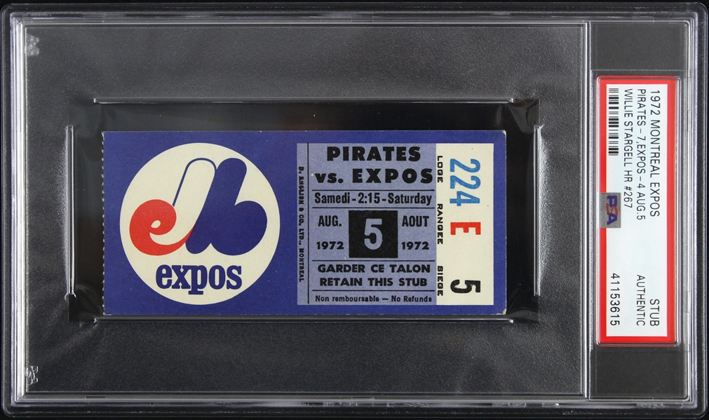 1972 Willie Stargell Pittsburgh Pirates Career HR #267 Ticket Stub (PSA Slabbed Authentic)