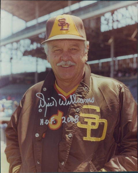 "1982-1985 Dick Williams San Diego Padres Autographed Colored 8""x10"" Photo (JSA)"
