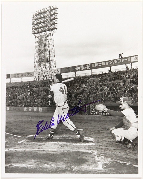 1953 Eddie Mathews Eddie Lopat Tour of Japan Signed 8x10 B&W Photo (JSA)