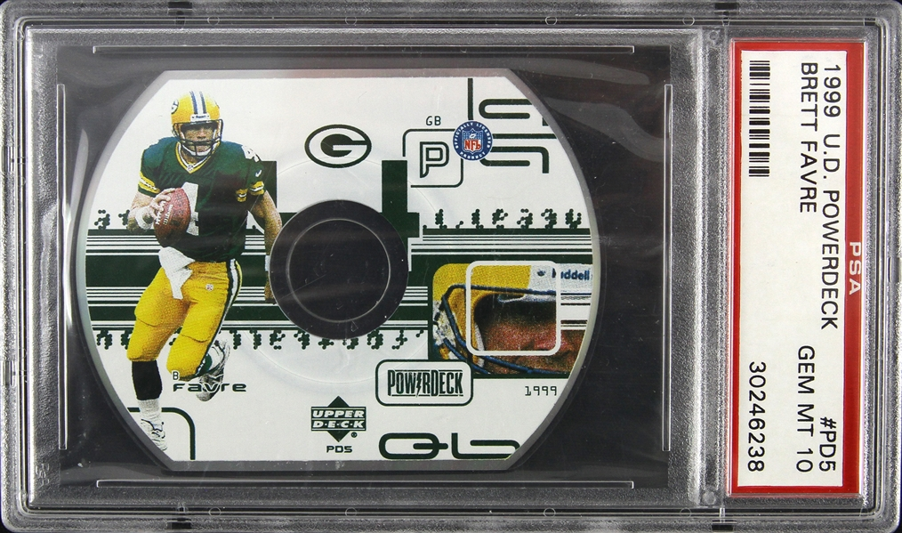 1999 Brett Favre Green Bay Packers Upper Deck Powerdeck CD-ROM Trading Card (PSA Slabbed Gem MT 10)