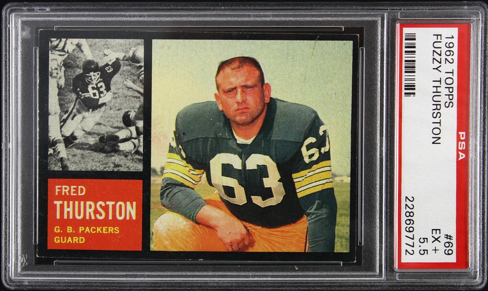 1962 Fuzzy Thurston Green Bay Packers Topps #69 Rookie Trading Card (PSA Slabbed EX+ 5.5)