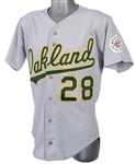 1987 Stan Javier Oakland Athletics Game Worn Road Jersey (MEARS LOA)