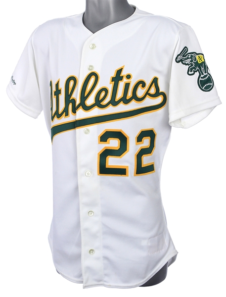1989 Luis Polonia Oakland Athletics Game Worn Home Jersey (MEARS LOA)