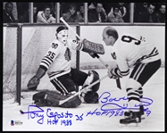 "1957-1984 Bobby Hull Tony Esposito Chicago Blackhawks Signed 8"" x 10"" Photo (Beckett)"