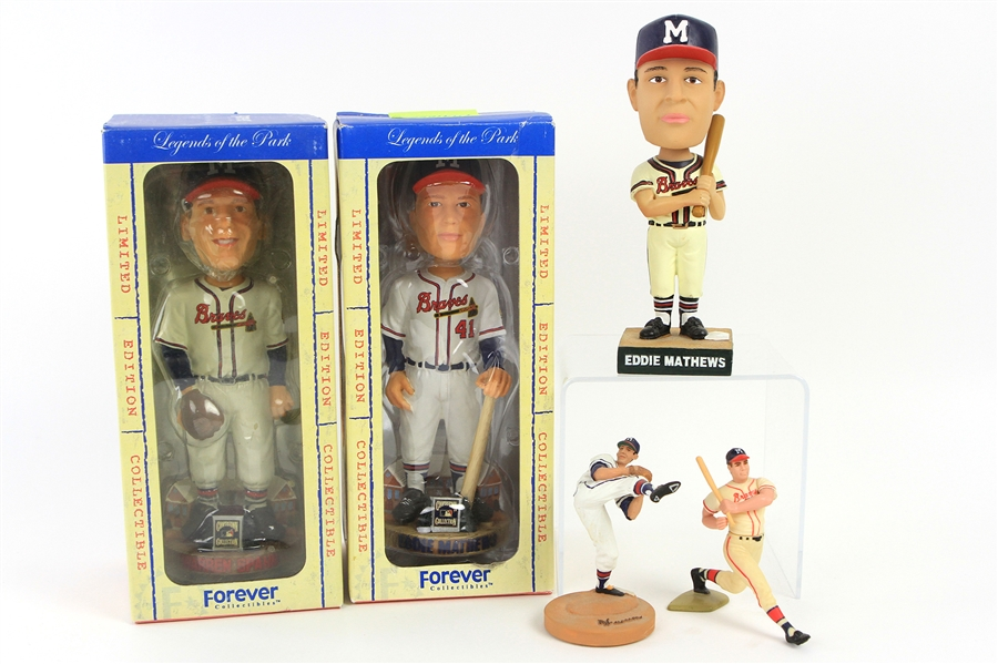 1991-2003 Warren Spahn Eddie Mathews Milwaukee Braves Figure Collection - Lot of 5 w/ MIB Bobbles & More