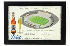 "1957 Green Bay Packers Pabst Blue Ribbon 12""x 17"" Framed Home Schedule"