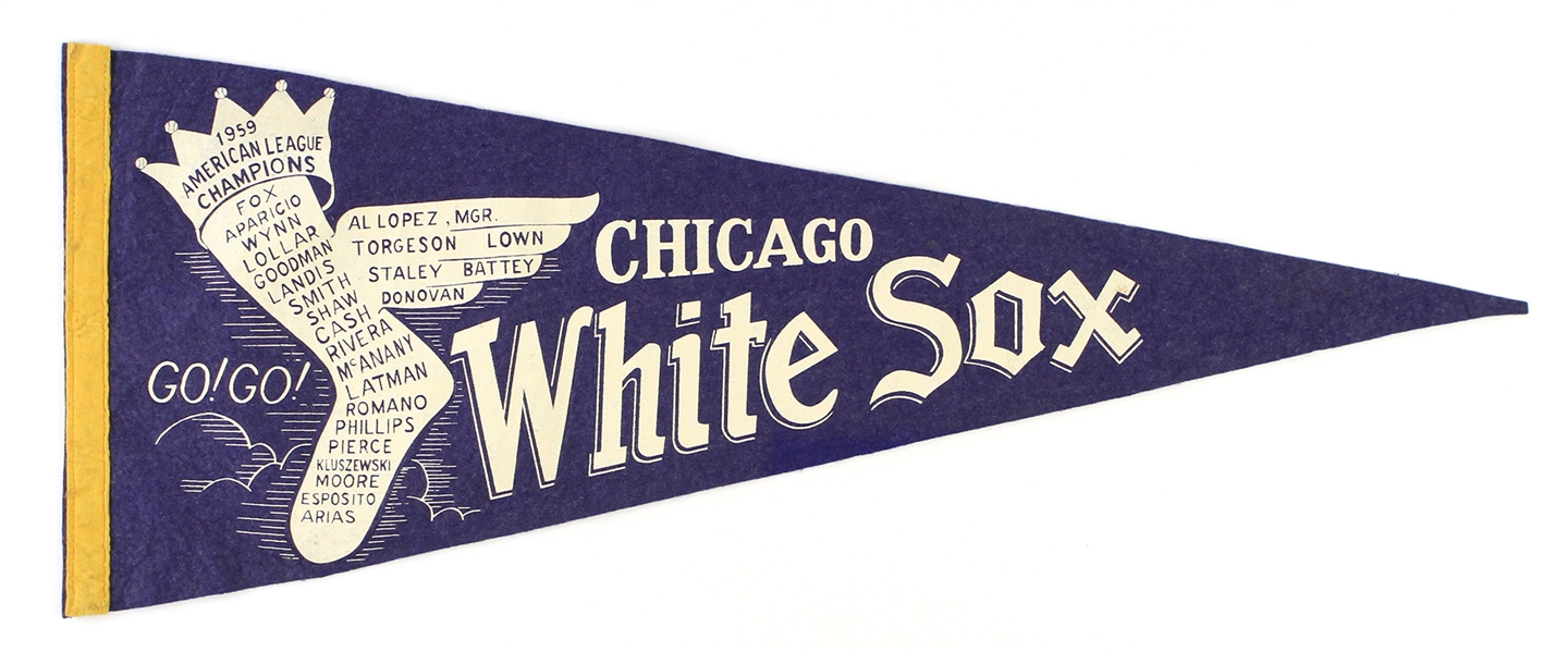 "1959 Chicago White Sox American League Champions 28"" Full Size Pennant"