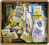 1980s-2000s Milwaukee Brewers County Stadium Miller Park Ticket/Stub/Parking Pass Collection - Lot of 500 + 1976 Topps Hank Aaron