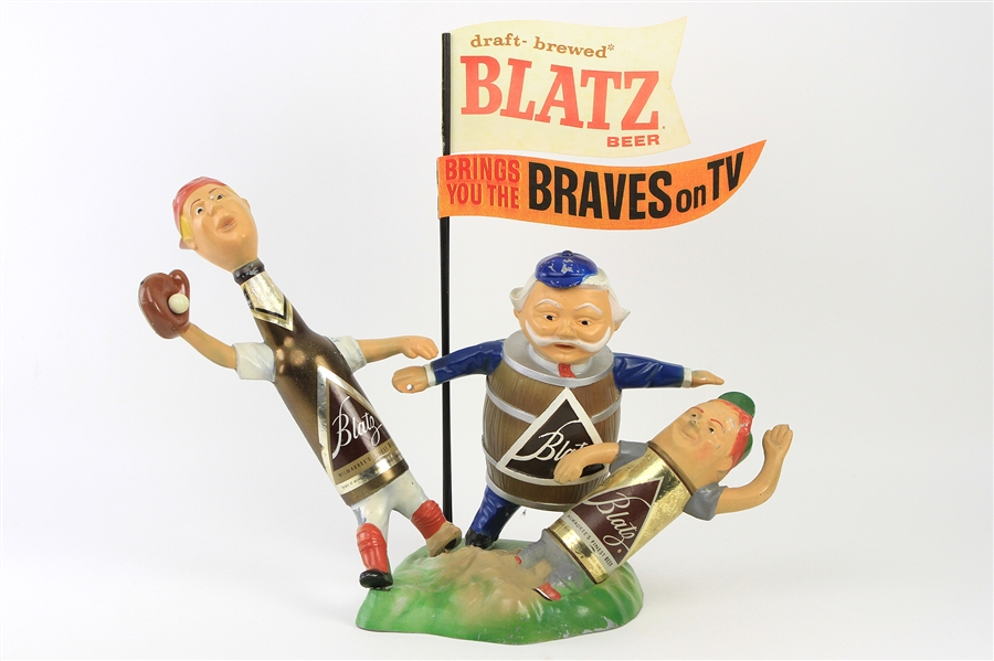 "1953-65 Milwaukee Braves Blatz Beer ""Brings You The Braves on TV"" Advertising Display"