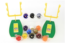 1970s NFL Mini Helmet Collection - Lot of 13 + 2 Upright Hook Displays