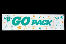 "1980s Green Bay Packers ""Go Pack"" 18"" x 71"" Banner"
