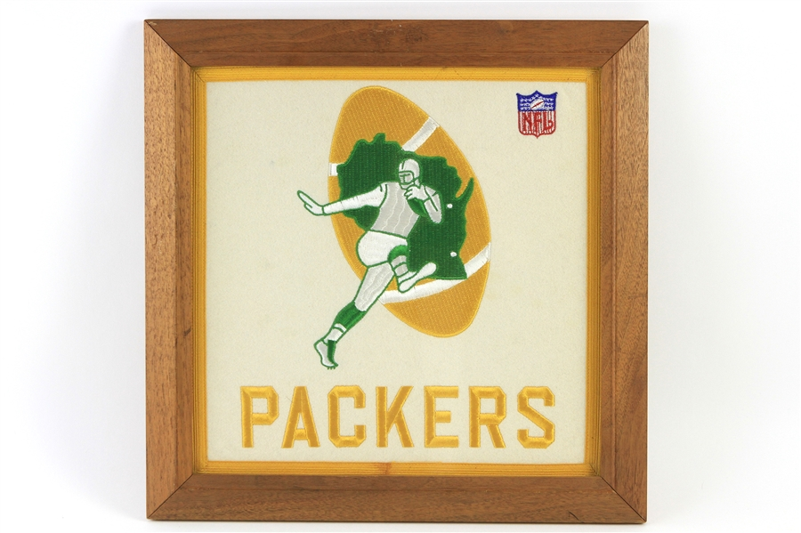 "1960s Green Bay Packers 16"" x 16"" Framed Embroiderd Logo Display"